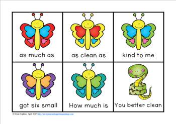Butterflies Sight Word Fluency Phrases