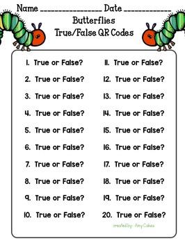 Butterflies True/False QR Code Activity