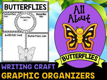 Butterflies - Writing Craft and Graphic Organizers SET, Book Template, Insects