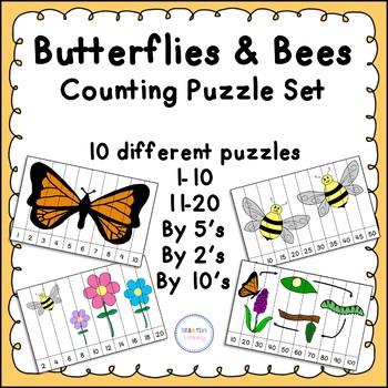 Butterflies and Bees Counting Puzzle Set