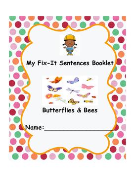 Butterflies and Bees Fix-it Sentences Booklet