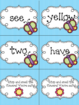 K/First Grade Reading Street Unit R Butterflies and Bees Sight Word Game