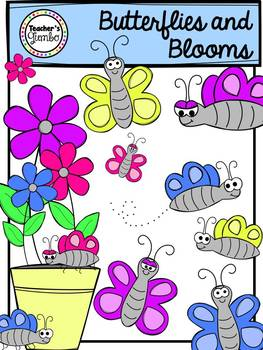 Butterflies and Blooms Clipart