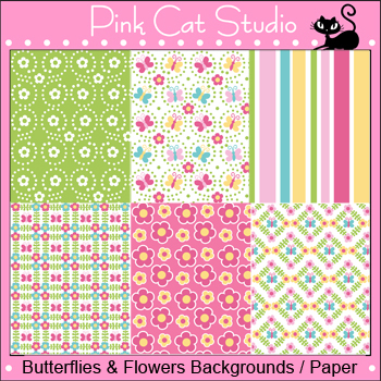 Spring Butterflies and Flowers Background Papers Clip Art