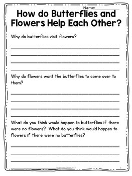 Butterflies and Flowers:  Science Informational Reading