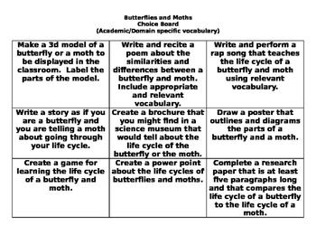 Butterflies and Moths Choice Board