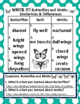 Butterflies and Moths: Picture Sort Graph Activities and Chart Activity