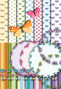 Butterflies and Stripes • Papers and Circles • Clip Art • 300 DPI • 7 Patterns