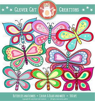 Butterflies and flowers clip art