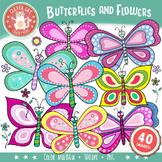 Butterflies and Flowers Clip Art