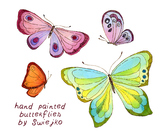 watercolor butterflies clipart set