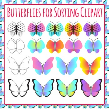 Butterflies for Sorting - Great for Inset Unit - Commercial Use Clip Art Pack