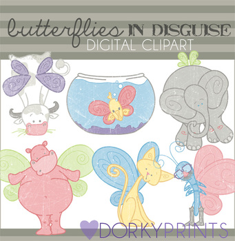 Butterflies in Disguise Digital Clip Art - Funny Butterflies