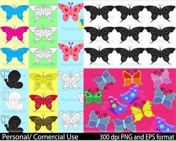 Butterflies spring school pastel outline stamp coloring wedding invitation -022-