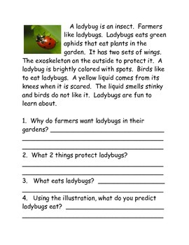 Butterflies to Ladybugs Informational Reading