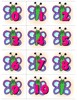 Butterfly - 0-10 Number Cards
