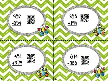 Butterfly 3-Digit Addition and Subtraction with Regrouping and QR codes