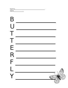 Butterfly Acrostic