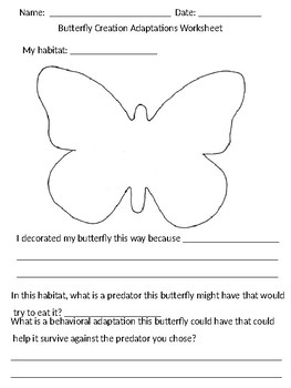 Butterfly Adaptations Creation Worksheet