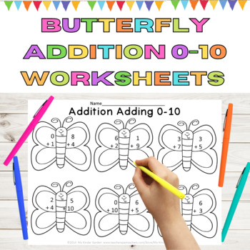 Butterfly Spring Math Addition Adding 0-10 Worksheets