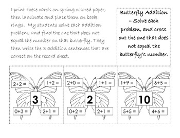 Butterfly Addition: Choose the Correct Equations