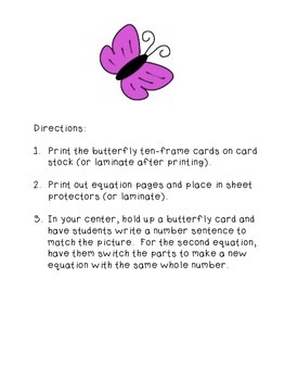 Butterfly Addition Sentences
