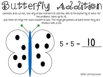 Butterfly Addition Task Cards