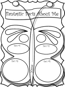 Fantastic Facts about Me Butterfly Themed Back to School Activity