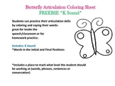 Butterfly Articulation Coloring Sheets FREEBIE K Sound