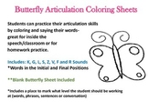 Butterfly Articulation Coloring CH, SH, K, G, L, S, F, V, R