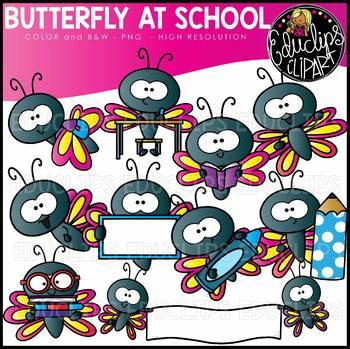 Butterfly At School Clip Art Set {Educlips Clipart}