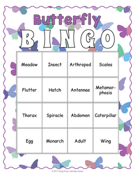 Butterfly Bingo Game