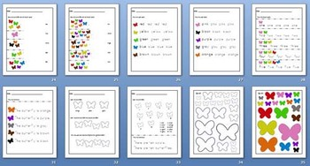 Butterfly Bonanza Flashcards and Worksheets