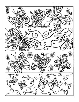 Butterfly Bookmarks to Color