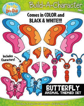 Butterfly Build-A-Character Clipart Set — Includes 25+ Graphics!