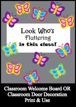 picture regarding Printable Door Decorations named Butterfly Bulletin Board Preset / Clroom Welcome Doorway Decoration - Printables