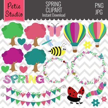 Insect Clipart, Floral Clipart, Bug Clipart, Bunting Clipart- Spring103