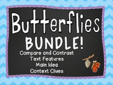 Butterfly Reading Activities - Main Idea, Context clues, Text Features, and More