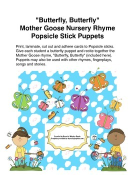 """""""Butterfly, Butterfly"""" Mother Goose Rhyme Popsicle Stick Puppets"""