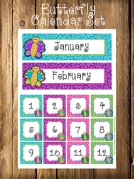 Butterfly Calendar Set - Months - Days - Numbers