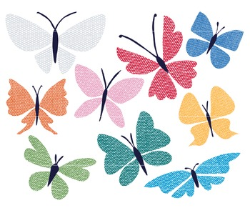 Butterfly Clip Art, Burlap Butterflies, Decorative Clip Art