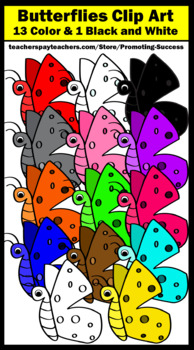 Butterfly Clip Art Commercial Use Primary Colors, Rainbow Theme SPS