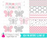 Butterfly Clip Art Set and Digital Paper Set D234