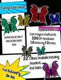 Butterfly Clip Art With BONUS* Coloring Page & Drawing Page