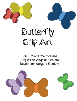 Butterfly Clip art with blackline