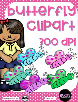 Butterfly Clipart - 5 different colors - 300 dpi