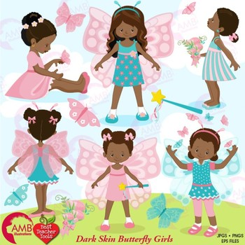 Butterfly Clipart, African American Butterfly Girls Clipart, AMB-1084