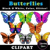 Butterfly Clipart - Black & White, Color, Glitter!