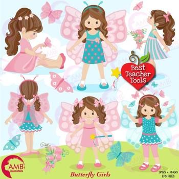 Butterfly Clipart, Butterfly Girls ClipArt, {Best Teacher Tools} AMB-1069