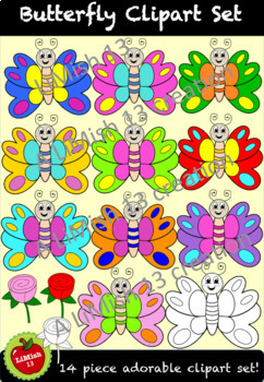Butterfly Clipart Set (14 piece) 300dpi